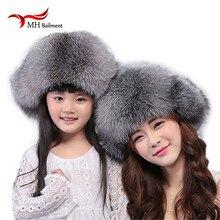 Winter Women Fox Fur Warm Hats Raccoon Fur Hat Bomber Hats Cap Snow Cap Fur Millinery Thick fur Bomber Hats protector cap W#40