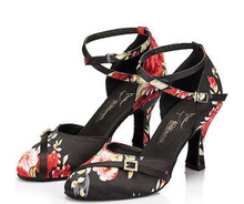 New Free Shipping Black Flower Print Open Toe Dance Shoe Ballroom Salsa Latin Tango Bachata Dancing Dance Shoes ALL Size