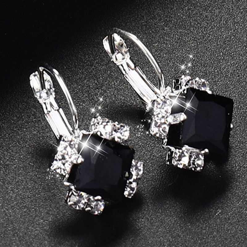 Fashion 2018 Batu Berlian Imitasi Putih Merah Kristal Persegi Drop Anting-Anting untuk Wanita Pernyataan Pernikahan Perhiasan Pendientes Mujer
