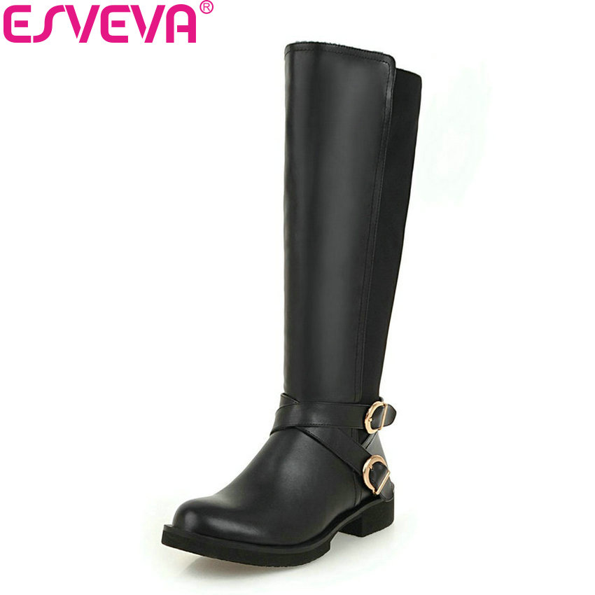 ESVEVA 2019 Shoes Women Round Toe Knee-high Boots Patchwork Square Low Heels Short Plush Zip Autumn Boots for Woman Size 34-43 esveva 2018 chunky women boots short plush square heels ankle boots round toe zippers spring and autumn ladies shoes size 34 43