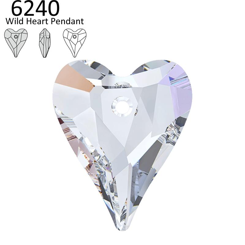 (1 Stück) 100% Original Kristall Von Swarovski 6240 Wilde Herz Anhänger Österreichischen Lose Perlen Strass Für Diy Schmuck Machen Exzellente QualitäT