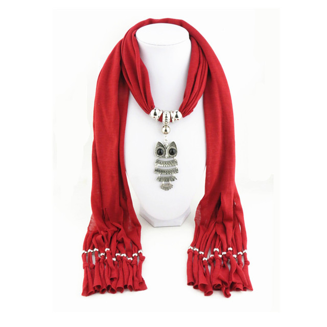 Newest owl pendant necklace scarf long tassel necklaces women scarf newest owl pendant necklace scarf long tassel necklaces women scarf ethnic jewelry shawl scarves for delicate aloadofball Choice Image