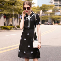 Svoryxiu Designer Summer Dress Women Fashion Short Sleeve Spider Embroidery little Black Dresses Short Vestidos 2019