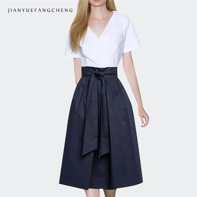 Jupe De Pantalones Alta Mid Mujeres Mujer 2018 Plus Cintura Con Tamaño Falda Cremallera Línea calf Verano Blue Cinturón Midi BBx5ZrqT