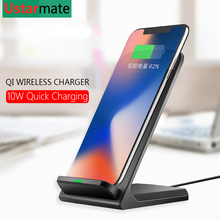 Qi Wireless Charger Stand Holder for Huawei Mate 20 Pro Mobile phone 10W Wireless Fast Charging for iPhone X Xs Samsung S8 S9 10w wireless charger iron man fast charger metal fold phone stand for samsung s9 s8 iphone xs 8plus x huawei xiaomi