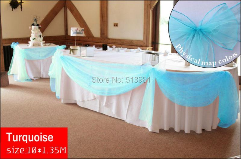 high quality turquoise diy 10m135m sheer organza swag fabric wedding decoration best quality
