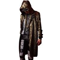 Gouden Blauw Zwart Mannen Vrouwen Stage Kleding Hooded Cloak Trenchcoat Nachtclub Zanger Danser DJ Kostuums Mannelijke Lange Vest Jas