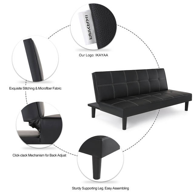 Online Shop Ikayaa Us De Stock Contemporary Faux Leather Futon Sofa