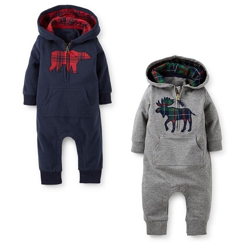b021f86e113 Toddler Baby Boys Girls Cotton Long Sleeve Hooded Romper One piece Suit  Coveralls jumpsuit children warm baby winter rompers-in Rompers from Mother    Kids ...