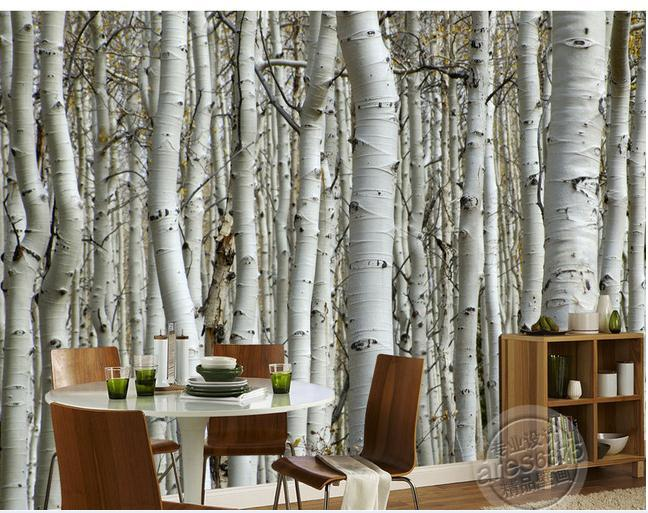 Wall Sticker Wallpaper White Birch Trees Mural Wallpapers Personalized Murals Wallpaer20171446 In From Home Improvement On
