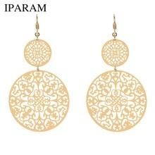 IPARAM New Fashion Woman Dangle Long Earrings Geometric Large Round Hollow Pattern Exaggerated Geometric Punk Jewelry