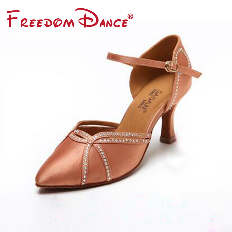 Quality Closed Toe Diamond Decorated Satin Women's Professional Ballroom Rumba Chacha Samba Dance Shoe Girls Latin Dance shoes dancesport bd dance 401 men latin dance shoes straight sole cow split leather men ballroom samba chacha rumba jive paso doble