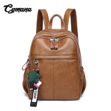 CGMANA Women Soft Leather Backpacks 2018 Preppy Style High Quality Female Travel School Bags
