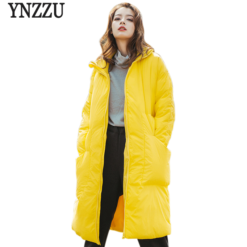 YNZZU 2018 Winter Yellow Women's   Down   Jacket Casual Long Duck   Down     Coat   Women Stand Collar Warm Fluffy Female Jacket YO721
