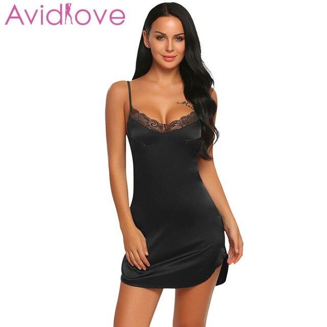 f8ba0cbbba832d0 Avidlove пикантные кружево атласная ночная рубашка Beckless Babydoll платье  Ночная для женщин летние шелковые пижамы сорочка