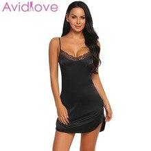 Avidlove Sexy Lace Satin Nightgown Beckless Babydoll Dress Nighty Women Summer Silk Sleepwear Chemise Night Dress