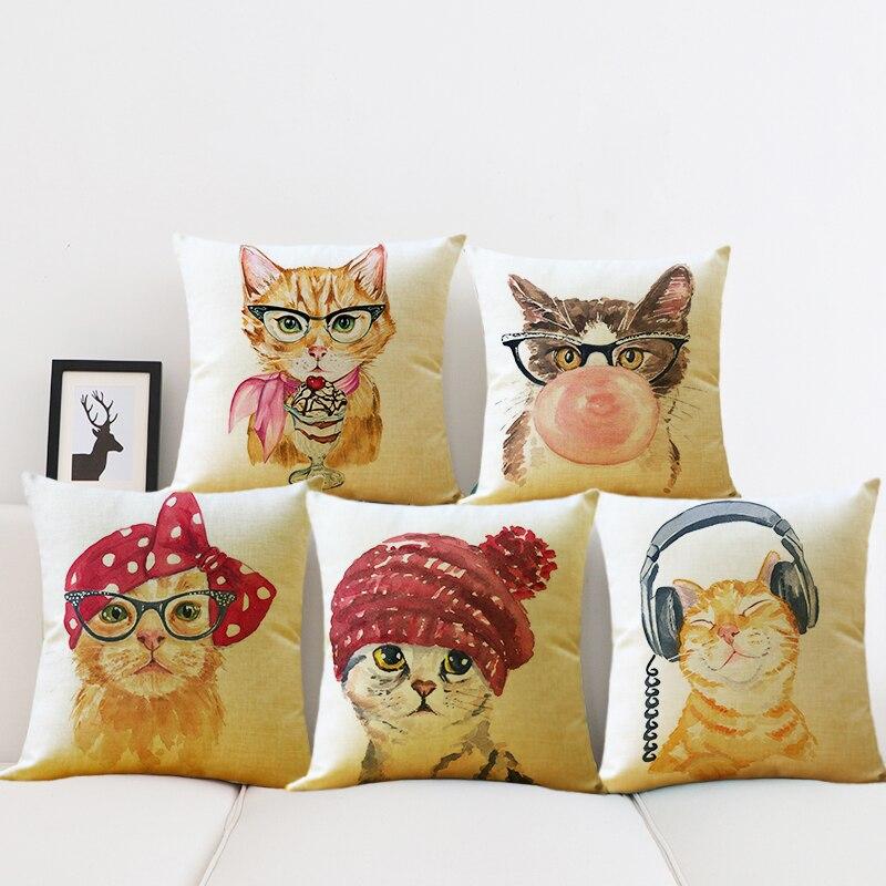 Pillow Case Dear Lovely Cat Cotton linen Animal Cushion Covers Car Sofa Chair Seat Cushion Home living Decor Pillowcases