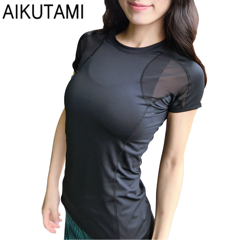 Sexy Yoga Top Back Mesh Quick-drying Breathable Slim Elastic Sports Shirt For Women Running T Shirt Gym Fitness Sports Jerseys