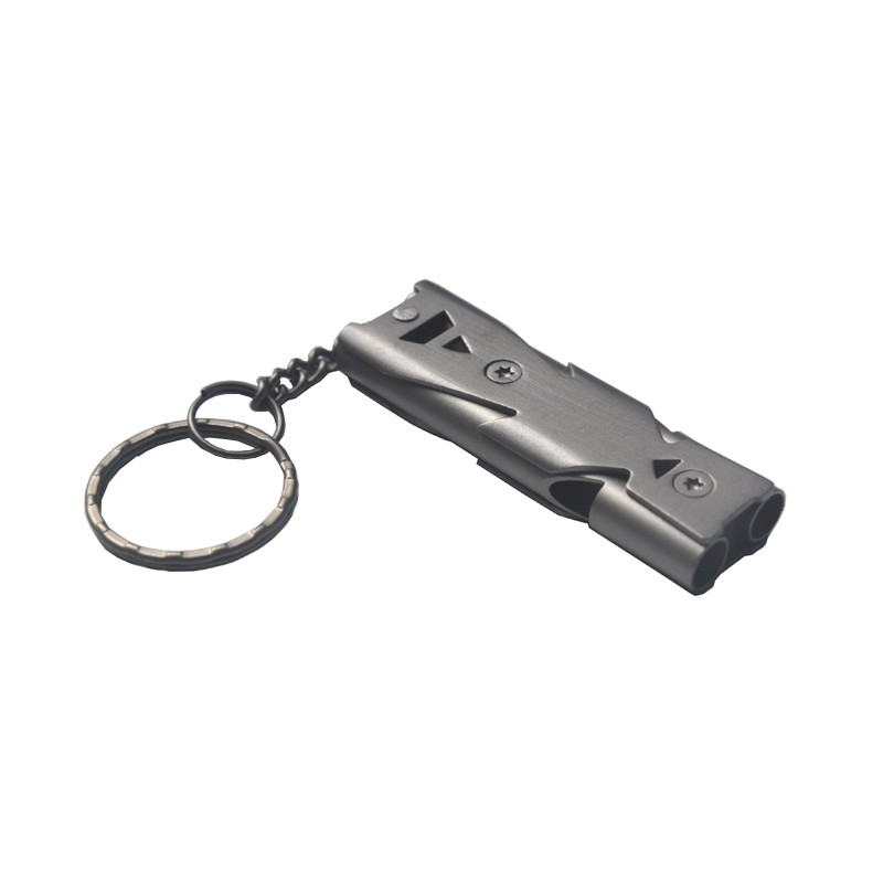 Outdoor Emergence Saving Tools Double Pipe Whistle High Decibel Stainless steel Emergency Survival Keychain Cheerleading Whistle цена