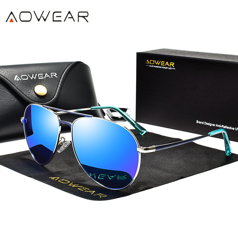 AOWEAR Brand Designer Aviation Sunglasses Men Polarized Mirror Driving Goggles Pilot Sun Glasses Women HD Aviation Shades Gafas