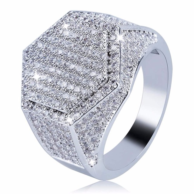 Hip Hop Bling Ice Out AAA Cubic Zirconia Men Ring Gold Silver Color Geometric Hexagon Rings Male Jewelry