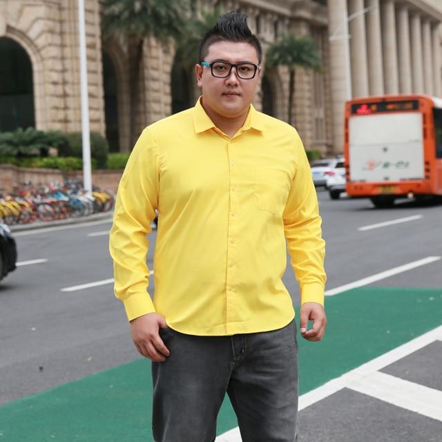 Artı Boyutu 5XL 6XL 7XL 8XL Sosyal İş Kolay bakım Elbise Erkek Gömlek Rahat Yumuşak Rahat Saf Renk Sarı mor Kırmızı