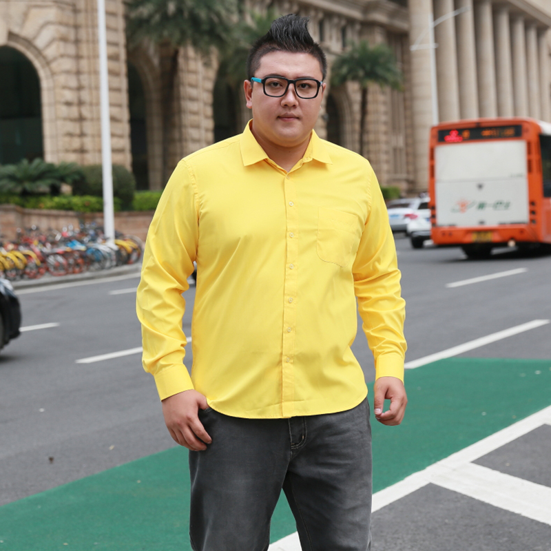 Plus Size 5XL 6XL 7XL 8XL Social Business Easy-care Dress Men Shirt  Casual Soft Comfortable Pure Color Yellow Purple Red