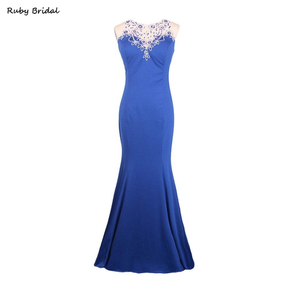 Ruby Bridal 2017 Vestido De Festa Long Evening Dresses Royal Blue Spandex Luxury Mermaid Cap Sleeves Lady Party Prom Gown KE80