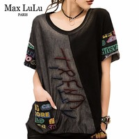 Max LuLu Summer European Luxury Clothes Ladies Patchwork Tops Tees Womens Embroidery Denim T Shirts Vintage Black Kawaii Tshirt