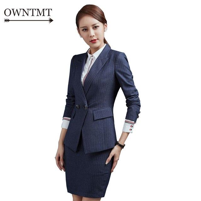 Doble botón dos piezas Ladies traje de falda Formal para la boda Oficina  uniforme diseños mujer 08dfec626939