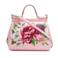 Luxury Flower Print Handbag Genuine Leather Women Bags