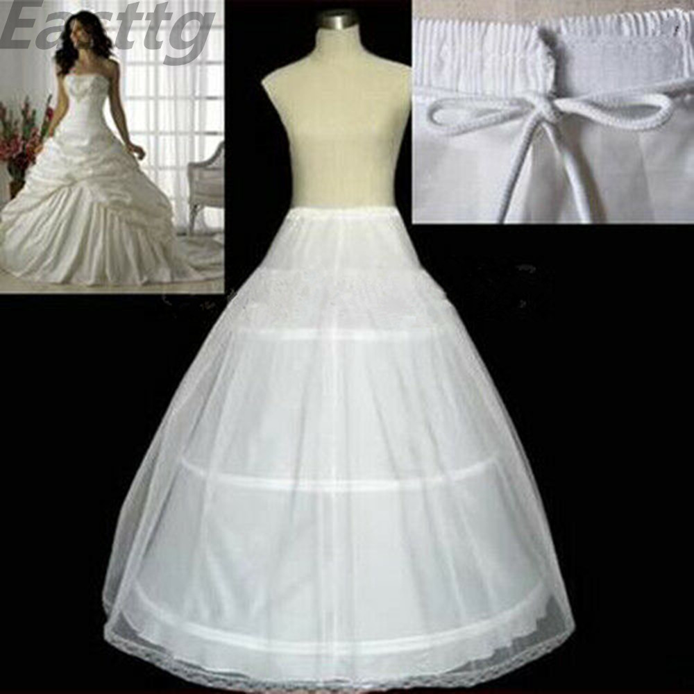 Plus Size  In Stock High Quality 3-HOOP Bridal Petticoats White Wedding Gown Petticoat Slip Underskirt Wedding Accessories