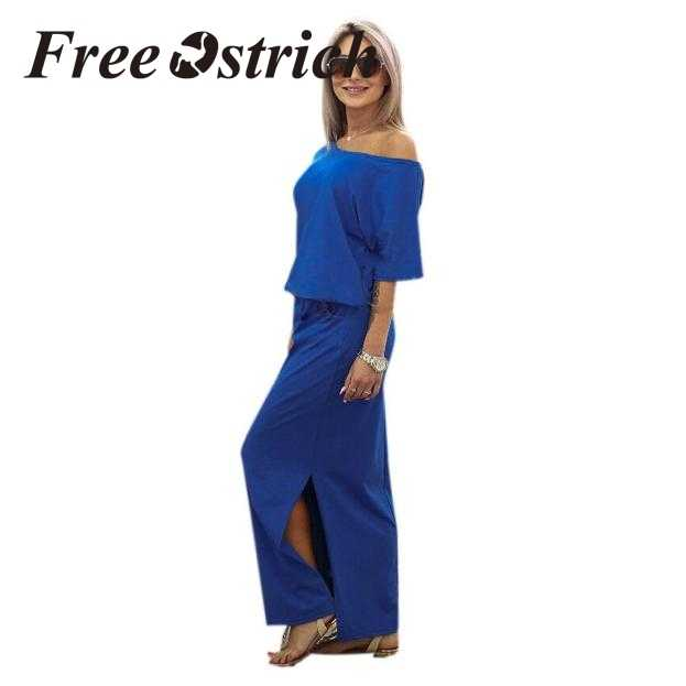Бесплатная страуса 2019 женское летнее Длинное Макси Бохо вечернее платье с карманом однотонное повседневное Модное темно-синее длинное платье для леди