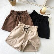 Новые женские шорты, осенние и зимние шорты с высокой талией, одноцветные повседневные свободные плотные теплые прямые шорты с эластичным поясом и карманами