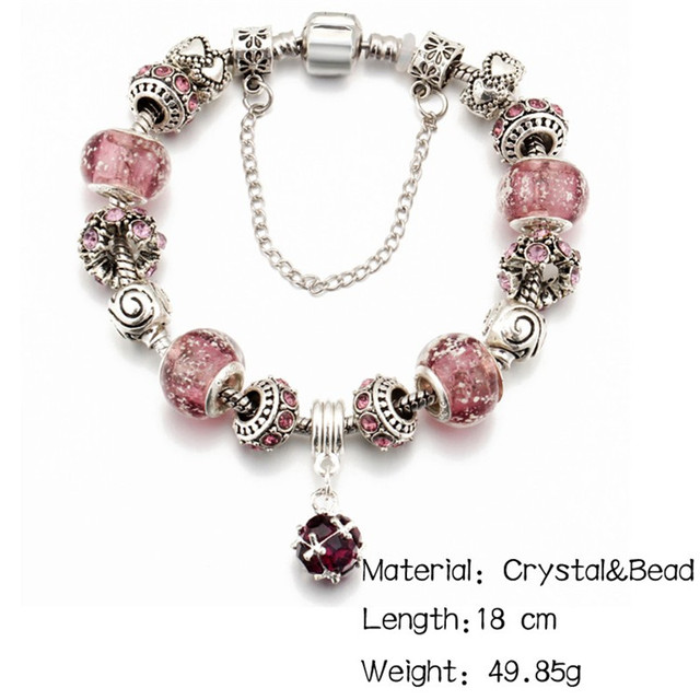 IF ME Vintage DIY Crystal Glass Beads Charms Bracelets For Women Famale Pendant Bracelets & Bangles Pulsera Jewelry Snake Chain 4