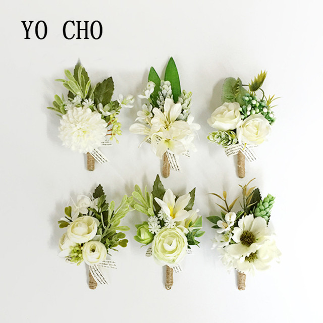 YO CHO Wedding Grooms Buttonhole Lapel Pin Flower