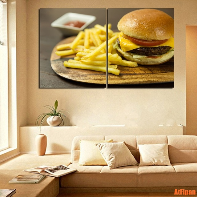 French Fries Beef Burger Fast Food Unframed Painting Wall Art Prints ...