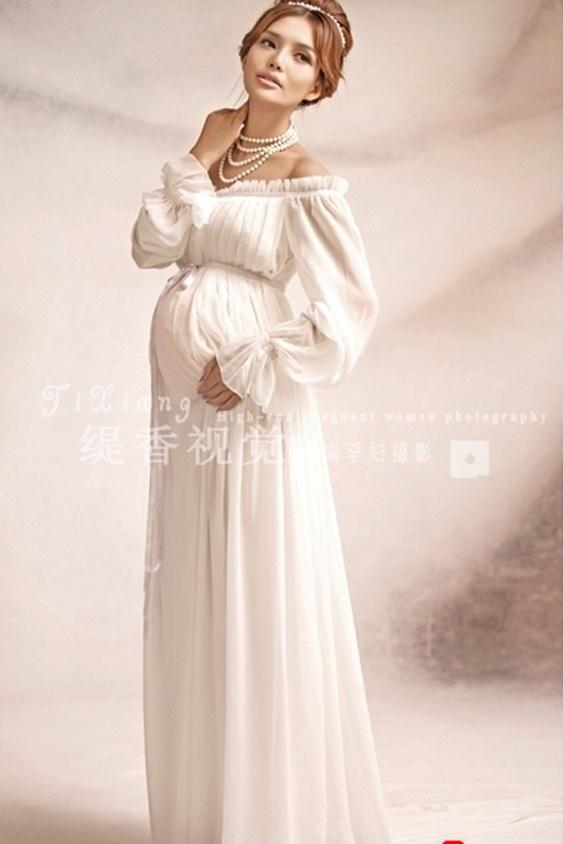 Online Shop new white lace Maternity dress Photography Props Long ...