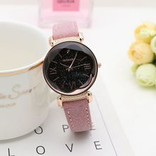 Rose Gold Leather Watches Women ladies casual dress quartz wristwatch