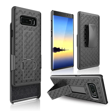 Haissky Slip Clip Phone Case For Samsung Note 8 Hard Case Ultra Slim Weave Pattern Case Kickstand Belt Clip Phone Case For Note8
