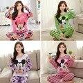 Pijamas de las mujeres 2016 Otoño de manga larga mujer chándal pijamas Ropa de Dormir pijama de dibujos animados de Mickey ocio Hogar unicornio