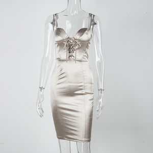 Image 4 - NewAsia Corset style Lace Up Club Dress Women 2019 Summer Sexy Padded Bra Satin Dress Woman Party Night Elegant Dress Champagne