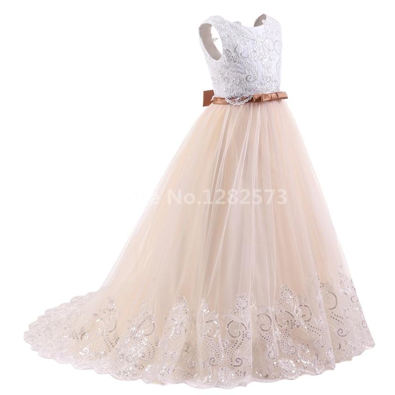 I lager Högkvalitativa blomstrande blonda flickasklänningar 2-12Y - Bröllopsfestklänningar - Foto 3