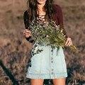 2017 Лето вышивка джинсовые Юбки женщин тонкий мини-юбки весна Чешские мода Джинсы юбка цветочные Элегантный boho синий юбки