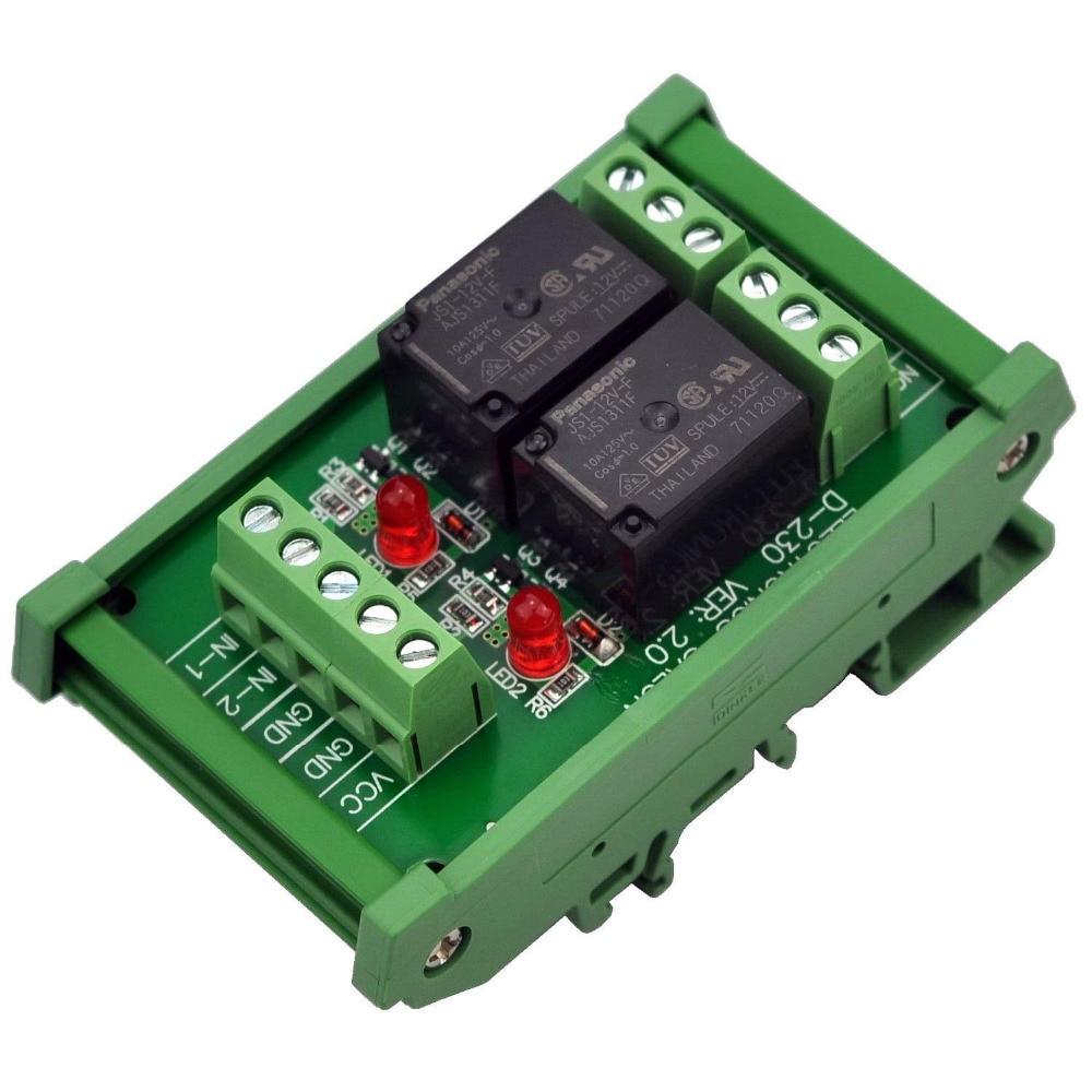 Electronics-Salon DIN Rail Mount 2 SPDT 10Amp Power Relay Interface Module, DC 12V Version.