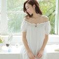 Mulheres Sleepwear Camisola de verão de Manga Curta Sleepwear Longa Camisola Camisola Branca Do Vintage Vestido