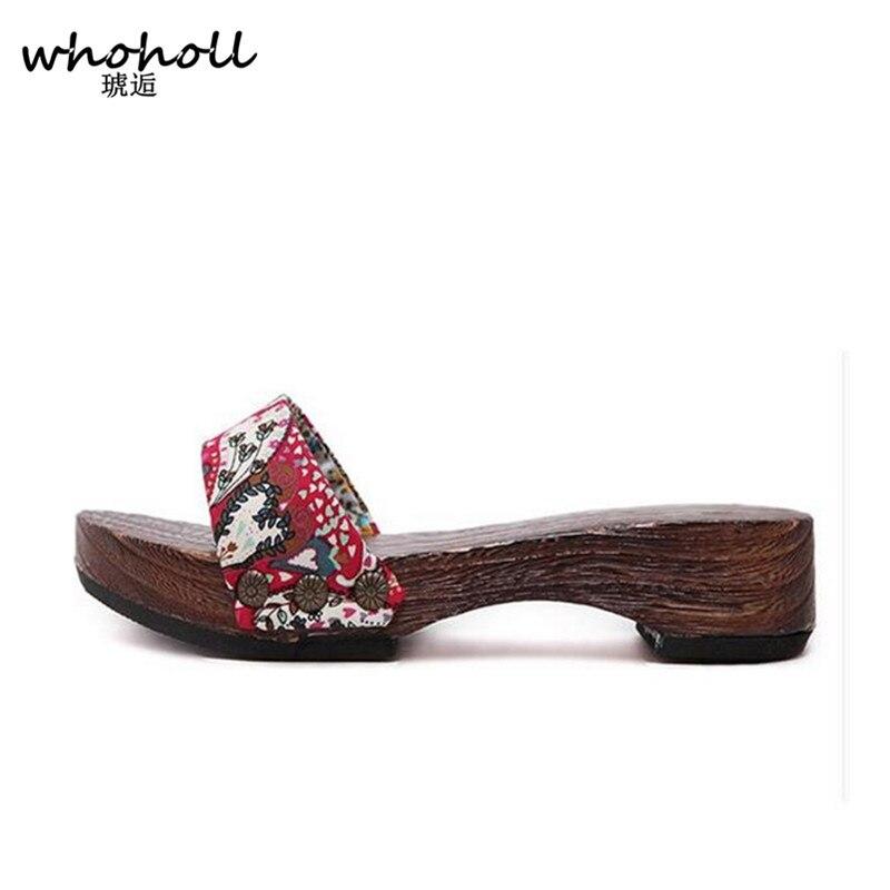 Slippers 2016 Summer women sandals Japanese Geta candlenut ...