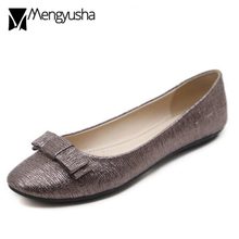 shiny leather flat shoes woman bow-knot ballet flats ladies round toe  moccasin shoes glitter e6233d2ddf49