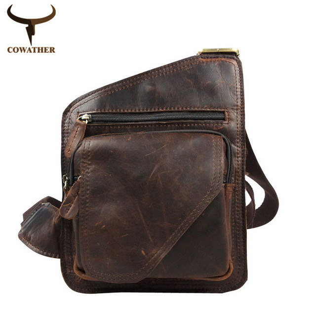 COWATHER 2016 100% top cow genuine leather versatile casual shoulder men messenger bags for men soild and zipper free shipping