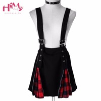 Harajuku Dark Black Mosaic Red Lattice Zip Suspenders Skirt Punk High Waist Belt Suspenders Skirt 2